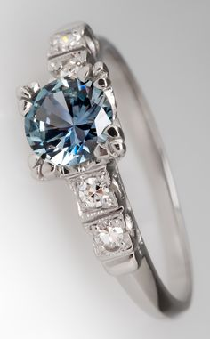 Montana greenish-blue sapphire and diamond ring