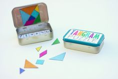 Rainbow: Magnetic DIY Travel Tangram Puzzles. Got someone in mind for this one. Like the idea of a magnetic backing to make them stick to the tin.