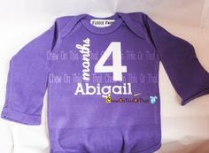 Personalized Baby Onesies - Month Photo Prop Baby's First Monthly Memory Bodysuits First Year Baby Bodysuit Milestone by ChewOnThisOrThat on Etsy