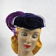 Vintage Hat Deep Purple Velvet Pillbox with Lilac Feather