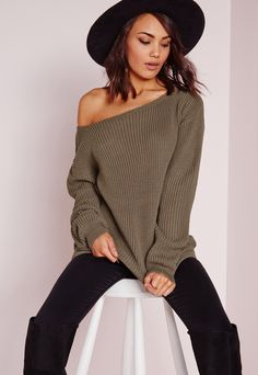 Off Shoulder Sweater Taupe