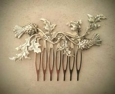 Silver Scottish Thistle Hair Comb Leaf Hair Comb by OLIVIABRUN