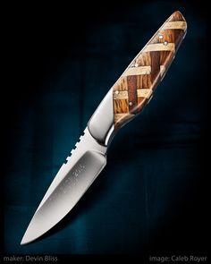 "From the 2017 Lone Star Knife Expo in Dallas, TX  Hunter by Devin Bliss  Oak, aspen, & walnut handle. D2 steel. 3 1/2"" blade. 7 3/4"" overall.  #calebroyerphotography #knife #knifemaking #knives #customknives #handmadeknives #knifecommunity #handmade #knifeart #knifepics #imagecalebroyer #steel #edge #sharp #cutlery"