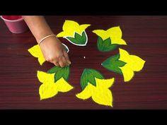 Simple kolam art designs with dots - 5 dots rangoli designs with colours - small flower kolangal Indian Rangoli Designs, Rangoli Designs Latest, Rangoli Designs Flower, Rangoli Border Designs, Rangoli Designs With Dots, Rangoli Designs Images, Flower Rangoli, Rangoli With Dots, Beautiful Rangoli Designs