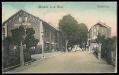 Vor Julius Krämer geht es links in die Mittelstraße u.a. zur Mädchenschule. Rechts August Hatzfeld (- schräg gegenüber der Wissener Hof). AK gelaufen 1912.
