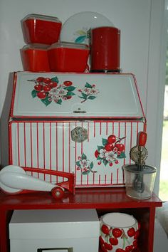 Paint recipe box similar. Edge drawers in red and decoupage apples.