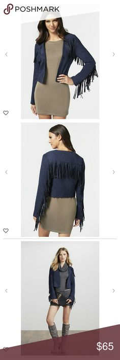 Boho Fringe navy jacket☮ Trendy fringe jacket! Go back to the 70's with this item. Dress up or down with this gorgeous piece!! I would definitely be hanging on to this piece if it fit me. Never worn only tried on. Faux suede. 100% polyester. Jackets & Coats Blazers