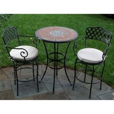 Alfresco Home Asti Indoor Outdoor Round Mosaic Bar Bistro Dining Set, 30-Inch by Alfresco Home. $1389.00. Wrought Iron Frames are E-coated with a powder coat paint to provide a weather proof, rust resistant finish. Includes Two Basketweave Bistro Chairs and One 30 inch Asti Bistro Table with Base. Hand Set Marble Mosaic Tiles are from natural sources including marble, slate and travertine set in an Outdoor Industrial Adhesive Grout. Chairs come fully welded with an  outdoor rate...