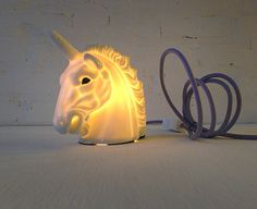 Vintage Lamp - Odysseus the Unicorn Head Night Light with Glitter Horn Eyes & Lavender Color Cord OOAK Bought With A Price, Unicorn Head, Body Is A Temple, Lavender Color, Vintage Lamps, Dear Santa, Unicorns, Night Light, Horns