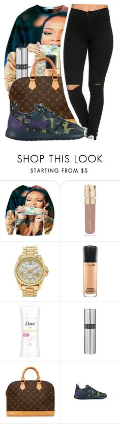 """Bad Like Rihanna"" by chynaloggins ❤ liked on Polyvore featuring Smith & Cult, Forever 21, MAC Cosmetics, Dove, Louis Vuitton and NIKE"
