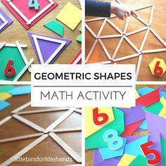 Geometric shapes math activity STEM Kindergarten Preschool Math Ideas