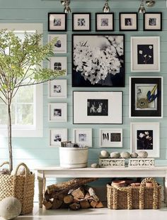Expressive Style : Photo Collage Walls. This is similar to what we want to do on our staircase