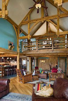 Distinct Western Elegance - Timber Frame Home Great Room | Flickr - Photo Sharing!