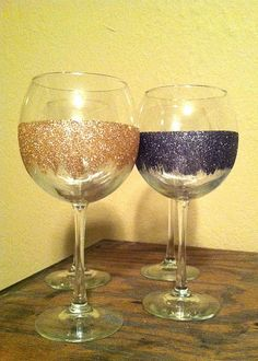 I have this on another board. Ours do not have to be sparkly, but DIY wine glasses sound FANTASTIC!!!