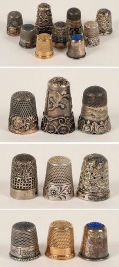 A collection of vintage thimbles.I love thimbles! Sewing Tools, Sewing Hacks, Sewing Crafts, Sewing Art, Hand Sewing, Vintage Sewing Notions, Antique Sewing Machines, Objets Antiques, Vintage Antiques