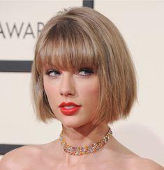 Taylor Swift short bob with straight bangs