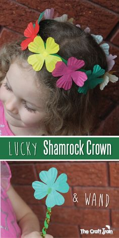 Lucky rainbow shamrock crown with matching wand made from cupcake liners by The Craft Train! (pinned by Super Simple Songs) #educational #resources for #children #StPatricksDay
