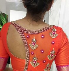 Top 30 Blouse Back Neck Designs - The Handmade Crafts Blouse Back Neck Designs, Simple Blouse Designs, Stylish Blouse Design, Fancy Blouse Designs, Sari Blouse Designs, Bridal Blouse Designs, Maggam Work Designs, Designer Blouse Patterns, Hand Designs