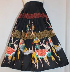 1950s Novelty Print Skirt Spanish Ladies by OrchidRoomVintage