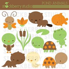Pond Animals Personal and Commerical Use Clipart Set. $5.00, via Etsy.