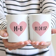 Heart initial mugs for the couple. Perfect as an engagement or wedding gift! Engagement Mugs, Engagement Gifts For Couples, Engagement Couple, Couple Mugs, Couple Gifts, Wedding Mugs, Wedding Gifts, Personalized Bridal Shower Gifts, Anniversary Gifts
