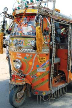 An Indian auto-rickshaw- with all the bells and whistles! #AffordableArt www.ArtNouv.com