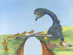 Mum & Dad duck are experiencing separation anxiety.  How can we possibly get re-united with our babies!?? Lucky a problem-solving emu was able to help out. Painted by Pj. Print is available on Pjpaintings website