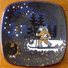 The Kalevala plates of Finland:  The picture shows Lemminkainen on his snowshoes/skis, the Elk and a black Cock of the Wood hiding in the trees.