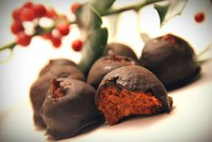 Vegan Superfood Goji Berry Truffles - Filling: 1 cup dried goji berries ½ cup creamy almond butter ¼ cup coconut nectar or maple syrup 1 teaspoon almond flavoring Chocolate Coating: 1 cup dark chocolate chips 1 tablespoon maple syrup 1 teaspoon vanilla, optional