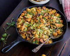 Gluten-Free Cornbread Stuffing with Chestnuts, Leeks, and Chanterelles - The Bojon Gourmet