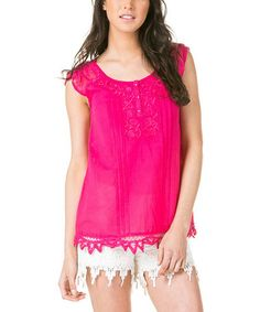 Another great find on #zulily! Fuchsia Pintuck Embroidered Cap-Sleeve Top #zulilyfinds