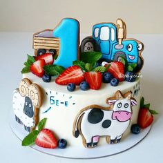 Royal Icing Cakes, Buttercream Cake, Cake Cookies, Sugar Cookies, Tractor Birthday, Character Cakes, First Birthday Cakes, Drip Cakes, Occasion Cakes