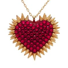 """Xirius"" Spiked & Pavèd Heart Necklace in Siam"