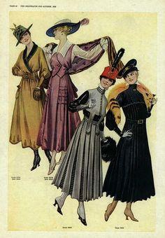 Stylishly wonderful looks for chillier days from 1916.  #Edwardian #fashion #1910s #vintage #dress