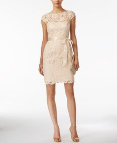 Adrianna Papell Lace Cap-Sleeve Illusion Sheath Neutral Bridesmaid Dress from Macy's Wedding Shop Neutral Bridesmaid Dresses, Beige Dresses, Bridesmaids, White Sheath Dress, White Dress, Sheath Dresses, Midi Dresses, White Lace, After Wedding Dress