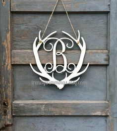 Deer Antler Monogram- Holiday Trimmings™ Wooden Monogram Letter- Interlocking Script, Door Hanger Wreath- for Christmas, rustic cabin decor on Etsy, $25.00