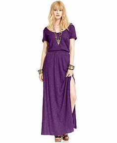 Free People Short-Sleeve Heathered Cotton Maxi Dress - Dresses - Women - Macy's