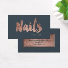Nails chic rose gold typography charcoal business card - artists unique special customize presents Cool Gifts, Unique Gifts, Lash Room, Nail Studio, Business Cards, Typography, Things To Come, Rose Gold, Charcoal