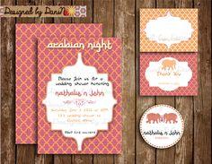 New to DesignedbyDaniN on Etsy: wedding shower invitation moroccan style shower arabian invitation coral and orange party elephant shower invite (13.99 USD)