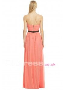 Pink Chiffon Sequin Sleeveless Maxi Evening Dresses