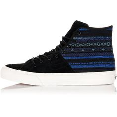 Vans High Fabric SK8 HI-DECON SPT CA Sneakers ($41) ❤ liked on Polyvore featuring shoes, sneakers, blue, vans footwear, round toe shoes, blue shoes, rubber sole shoes and vans shoes