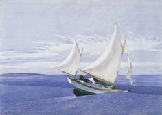 Edward Hopper (1882-1967), Yawl Riding a Swell, 1935.  watercolor over graphite, 51 x 71.8 cm