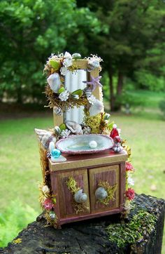 Dollhouse Miniature Fairy Sink Cabinet by by 19thDayMiniatures, $37.00