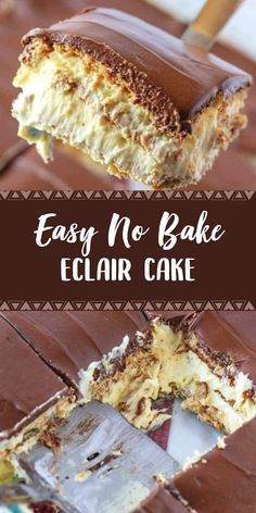 No-Bake Eclair Cake is a dessert that is layers of flavor: graham crackers, instant vanilla pudding, whipped topping and topped with chocolate frosting! recipes dessert sweet treats graham crackers No-Bake Eclair Cake 13 Desserts, Quick Dessert Recipes, Easy Cake Recipes, Baking Recipes, Cookie Recipes, Delicious Desserts, Lemon Desserts, Healthy Recipes, Lemon Recipes
