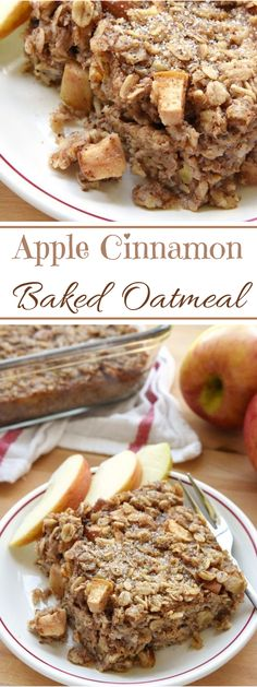 Apple Cinnamon Baked Oatmeal ~ loaded with tender apples, spiced with warm cinna. - Apple Cinnamon Baked Oatmeal ~ loaded with tender apples, spiced with warm cinnamon, and lightly sw - What's For Breakfast, Healthy Breakfast Recipes, Brunch Recipes, Dessert Recipes, Oatmeal Breakfast Bars, Breakfast With Apples, Apple Recipes Healthy Clean Eating, Oatmeal Muffins, Healthy Oatmeal Recipes