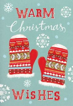 Louise Anglicas Warm Christmas Wishes illustration with mittens and snowflak