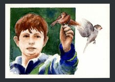 ACEO Original Boy Feeding Birds child sparrows animals portrait window brown  #Impressionism
