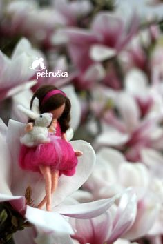 Pink fairy with a white rabbit, needle felted, wool felt, home decor, mobiles, Spring