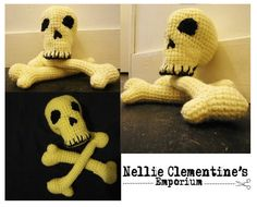 nellie clementine crochet skull and cross bones Crochet Skull, Hand Crochet, Skull And Crossbones, Skulls, Dinosaur Stuffed Animal, Unique Jewelry, Toys, Handmade Gifts, Heart