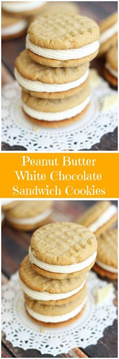Chewy and soft peanut butter cookies sandwiched together with fluffy and rich white chocolate buttercream!